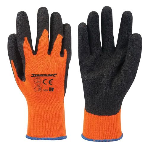Silverline 736809 Hi Vis Orange Builders Safety Work Gloves Large
